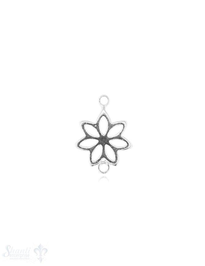 Silberteil mit Doppelösen hell Blume durchbrochen 17x12 mm 1 Pack = 3 Stk.