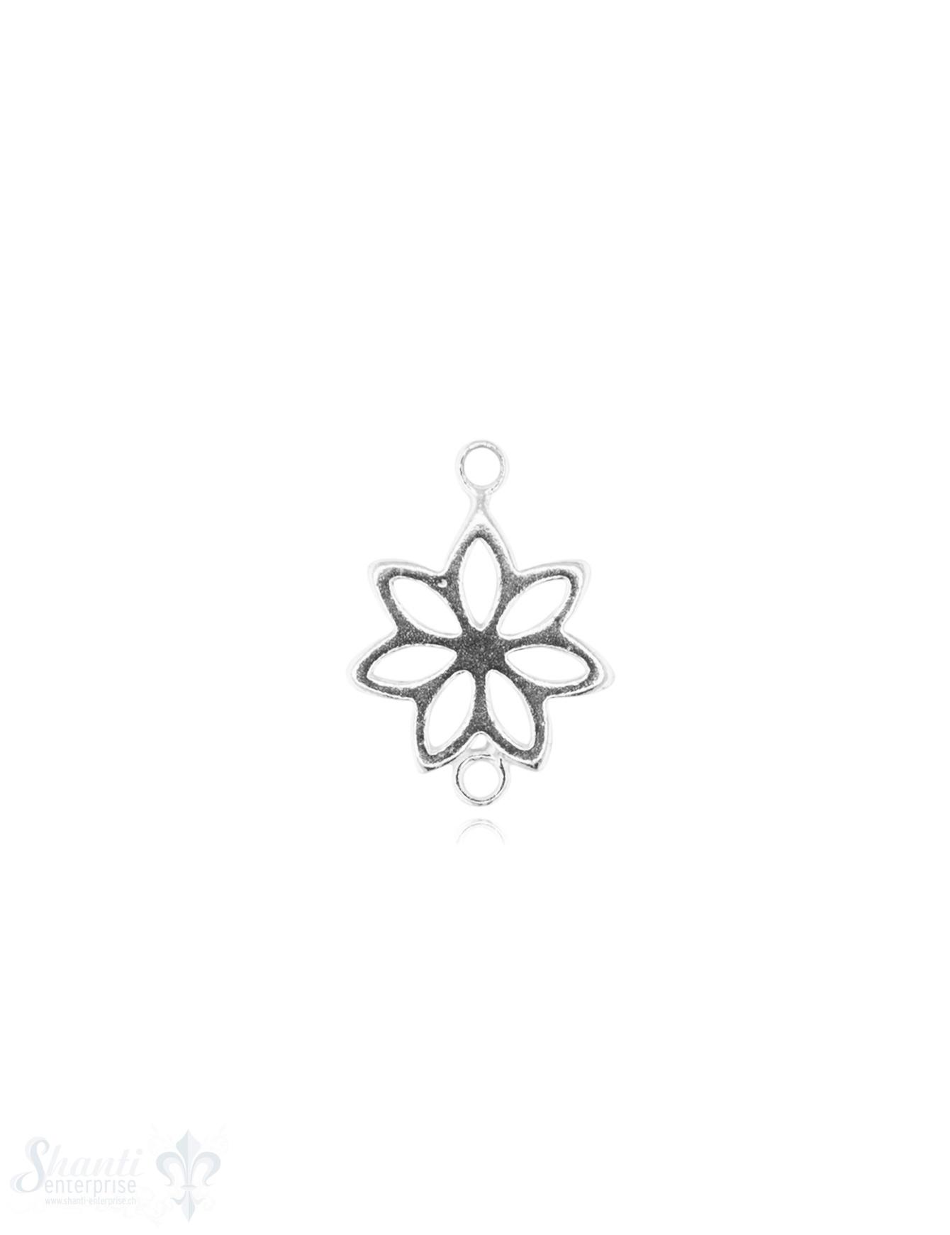 Silberteil mit Doppelösen hell Blume durchbrochen