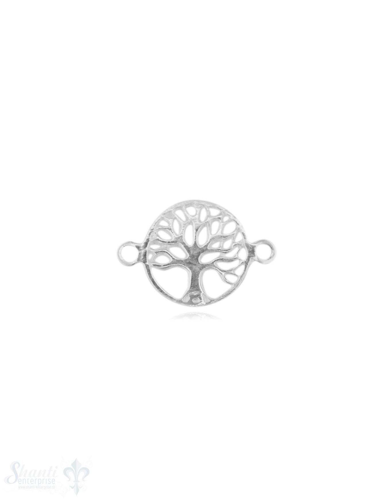 SIlberteil mit Doppelösen hell Lebensbaum 16x11 mm