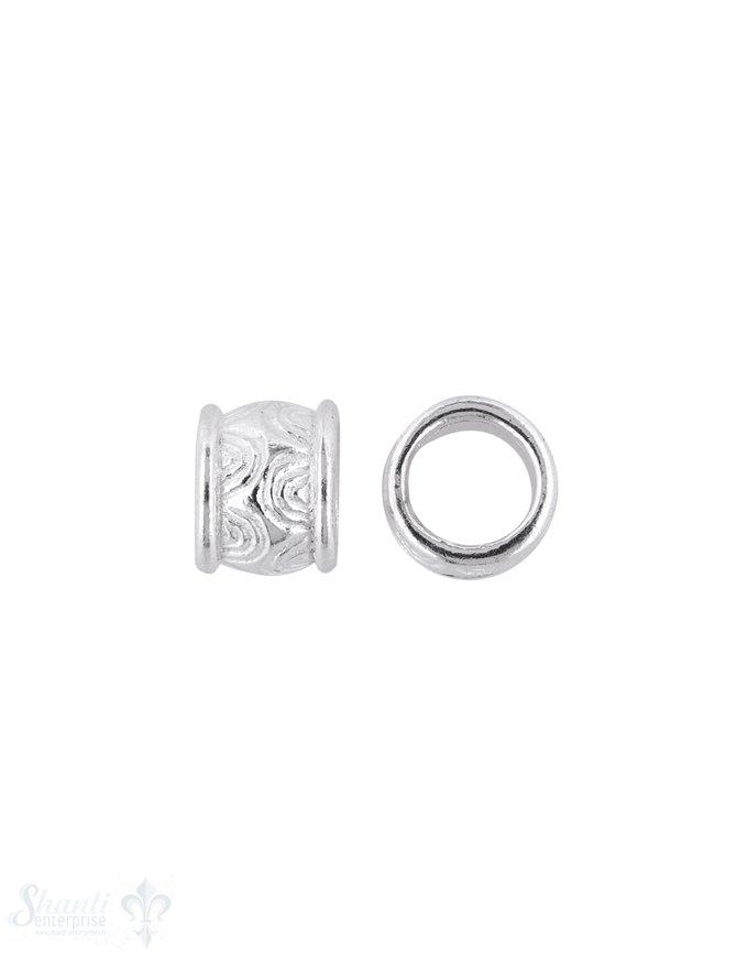 Grossloch-Zwischenteil Silber verziert 8x7 mm ID 5 .8 mm Halbkreise Pack = 4 Stk. ca. 5 gr.