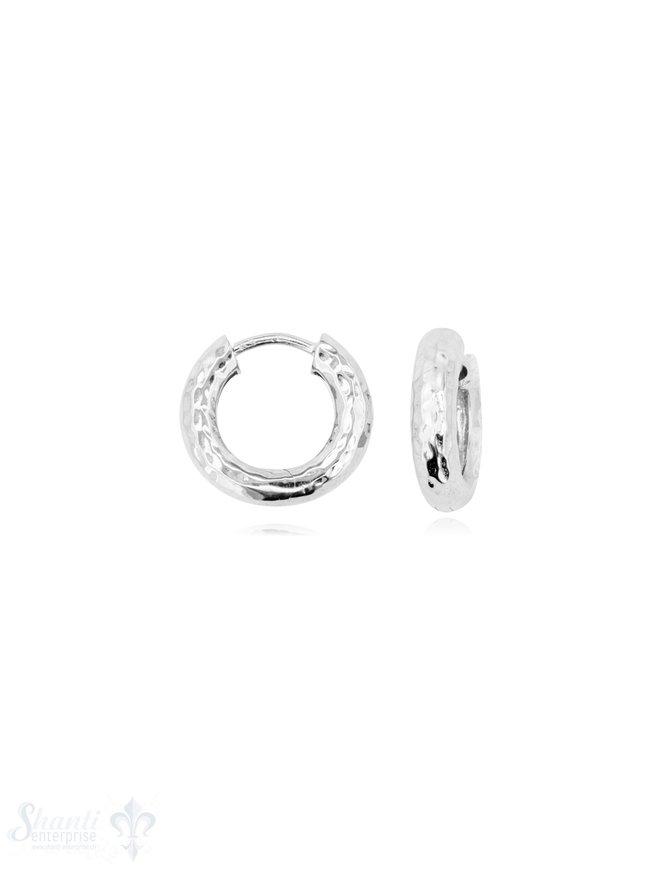 Creolen Silber 12 mm gehämmert 3,2 mm breit mit Klapp-Verschluss