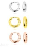 Creolen Silber 15 mm gehämmert 4 mm breit Klapp-Verschluss