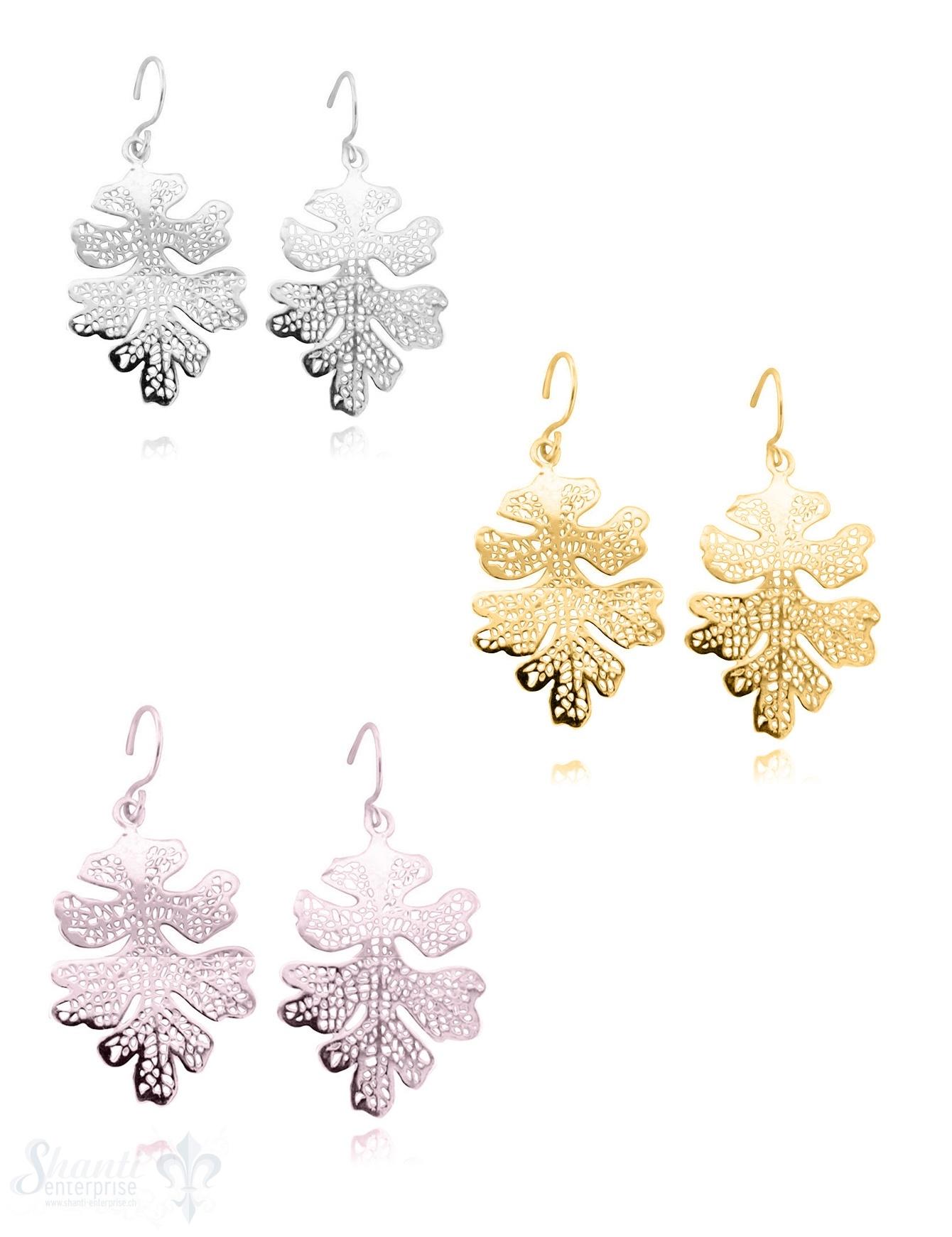 Ohrhänger Silber Eichenblatt mit Struktur 20x30 mm mit Bügel