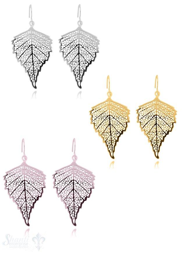 Ohrhänger Silber Eschenblatt durchbrochen 24x35 mm mit Bügel