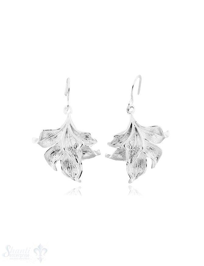 Ohrhänger Silber Bromelien Blüten  23 mm mit Bügel