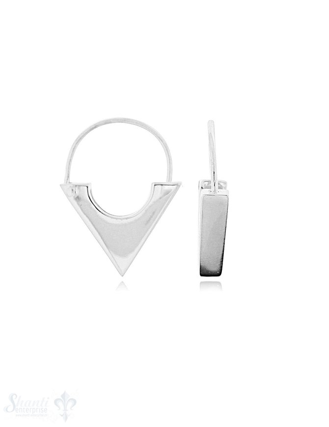 Si-Creolen: Dreieck, Spitz nach unten, kantig L: 23 mm B: 17