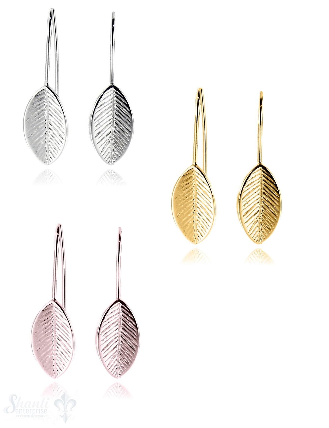 Ohrhänger Silber Blatt klein 7x11 mm mit Bügel fix
