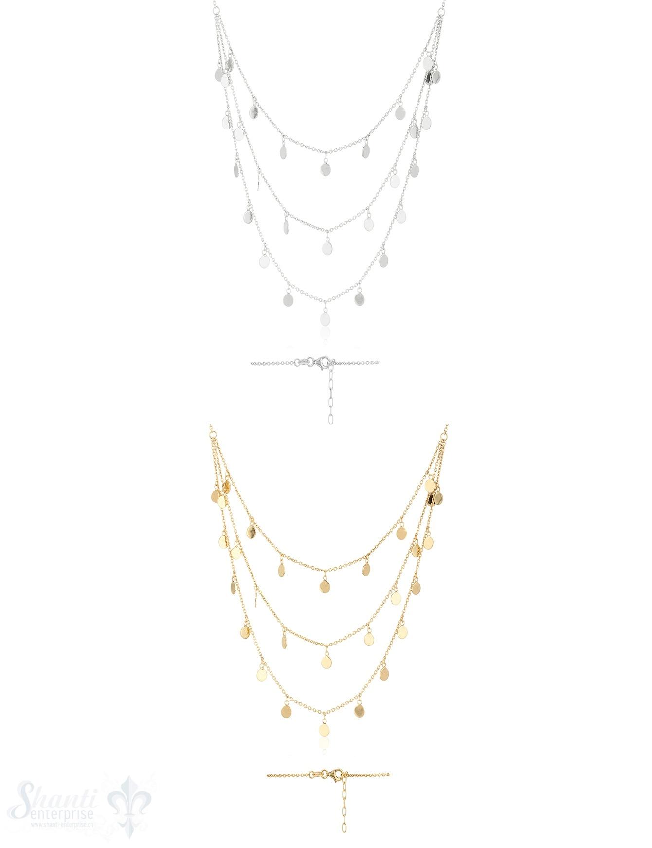 Si-Halskette:Anker 3-reihig mit Plaquetten hängend