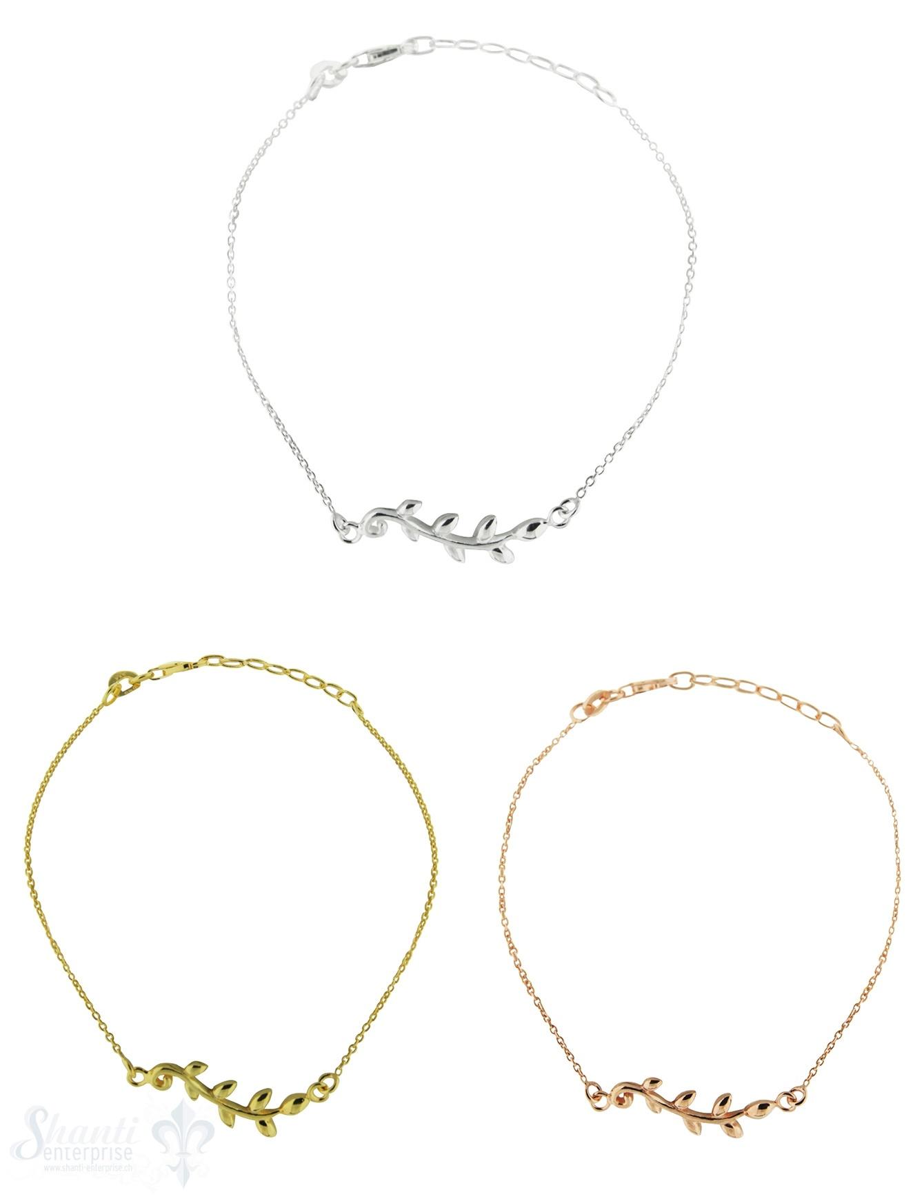 Silberarmkette: Anker mit Blattranke Länge: 16 / 18 cm verstellbar