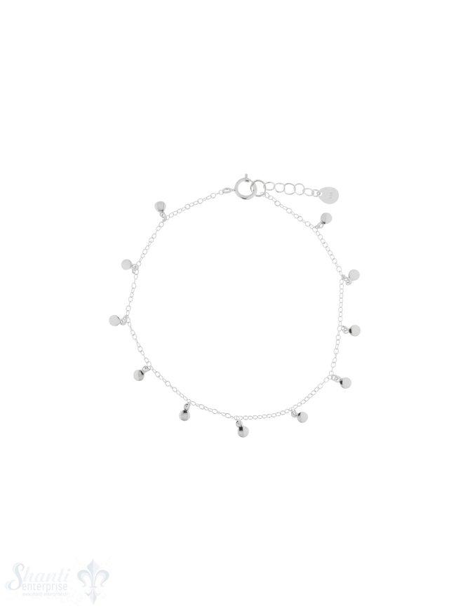 Armkette Silber Anker fein mit Mini-Plaquetten Grössen verstellbar 16/18 cm Federringschloss