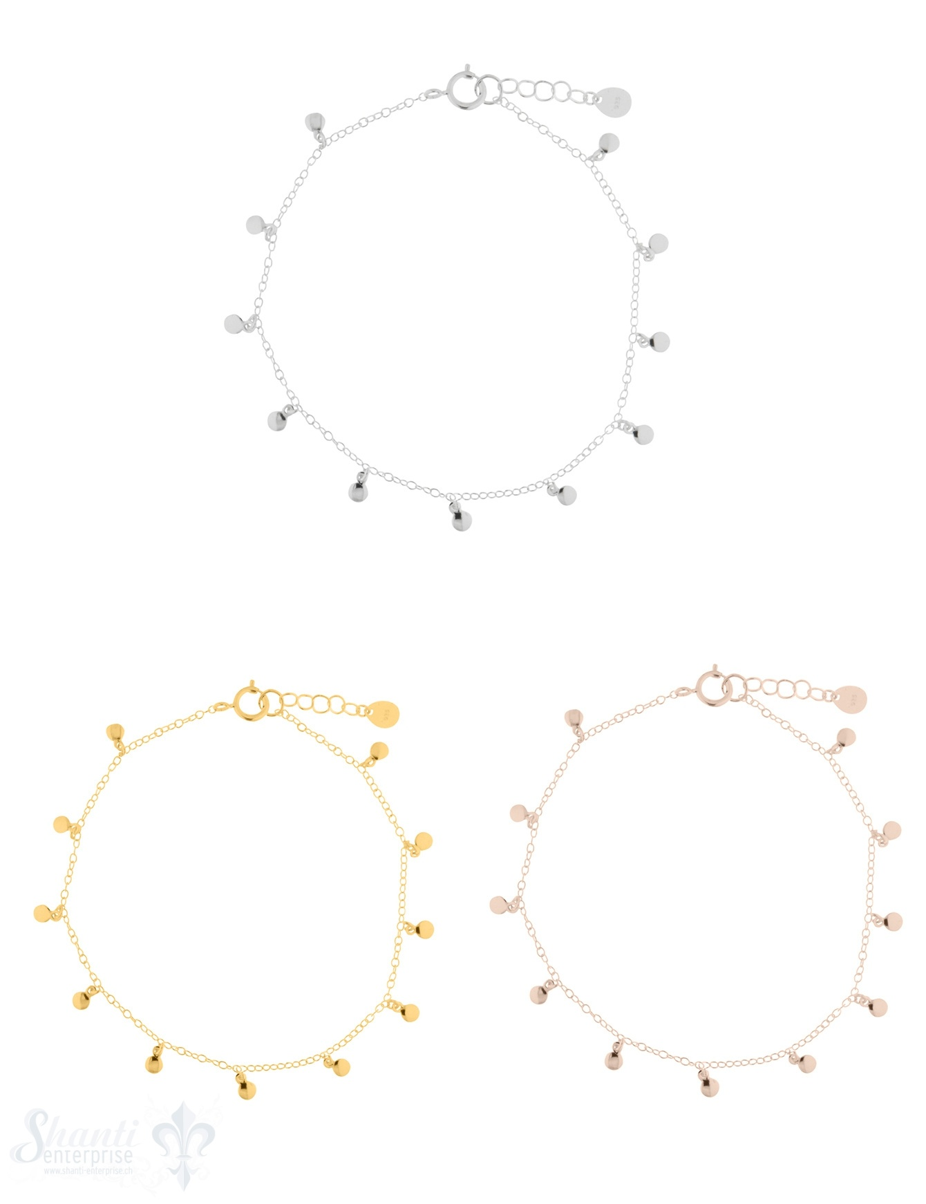 Armkette Silber Anker fein mit Mini-Plaquetten