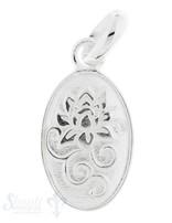 Silberanhänger Medaillon mit Lotusblume 20x11 mm mit Öse lose