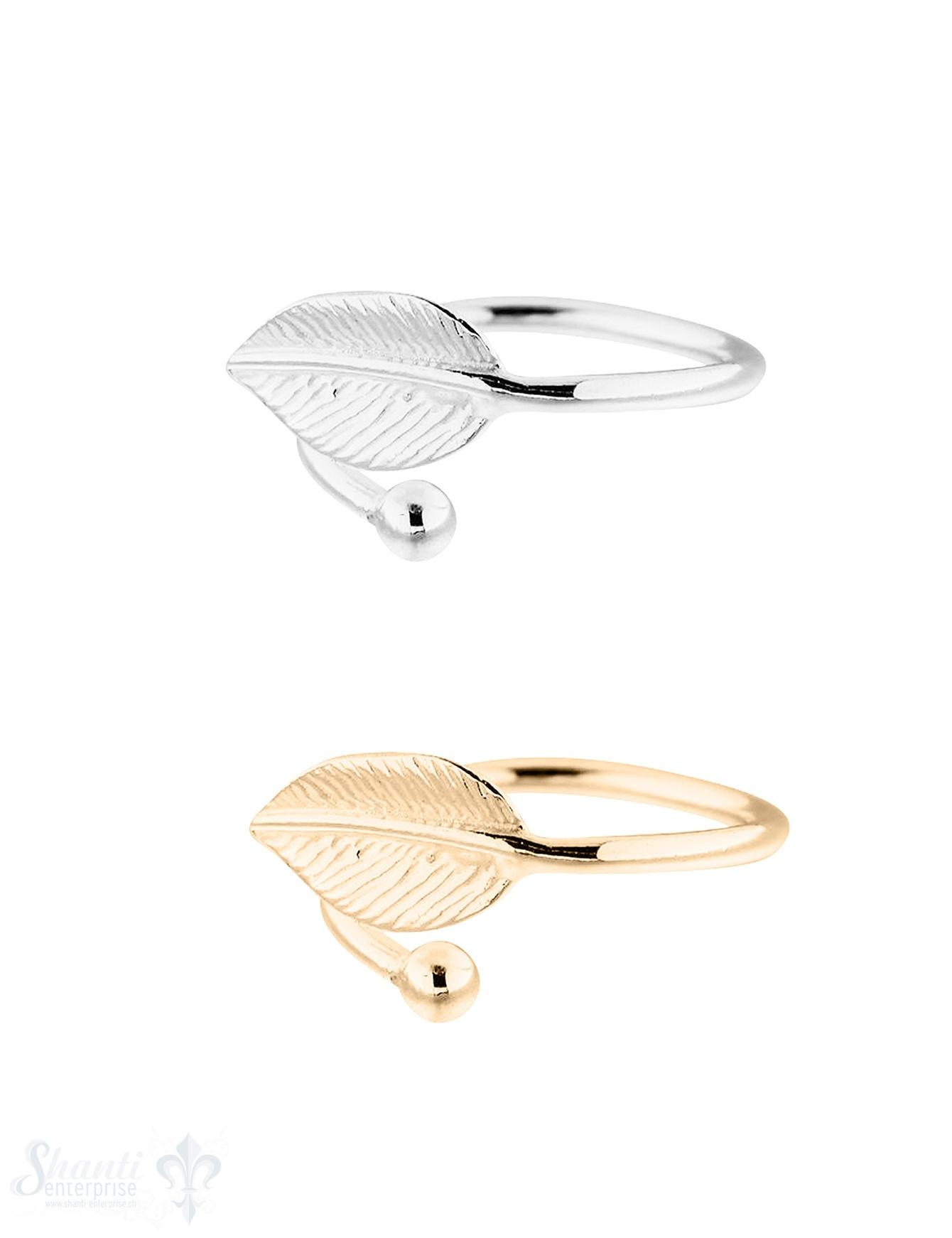 Silberring: Ringschiene mit 1 Si-Blatt oben offen, andere Seite kl.Si-Kgl. Gr. 50 - Gr. 58 Grössen verstellbar