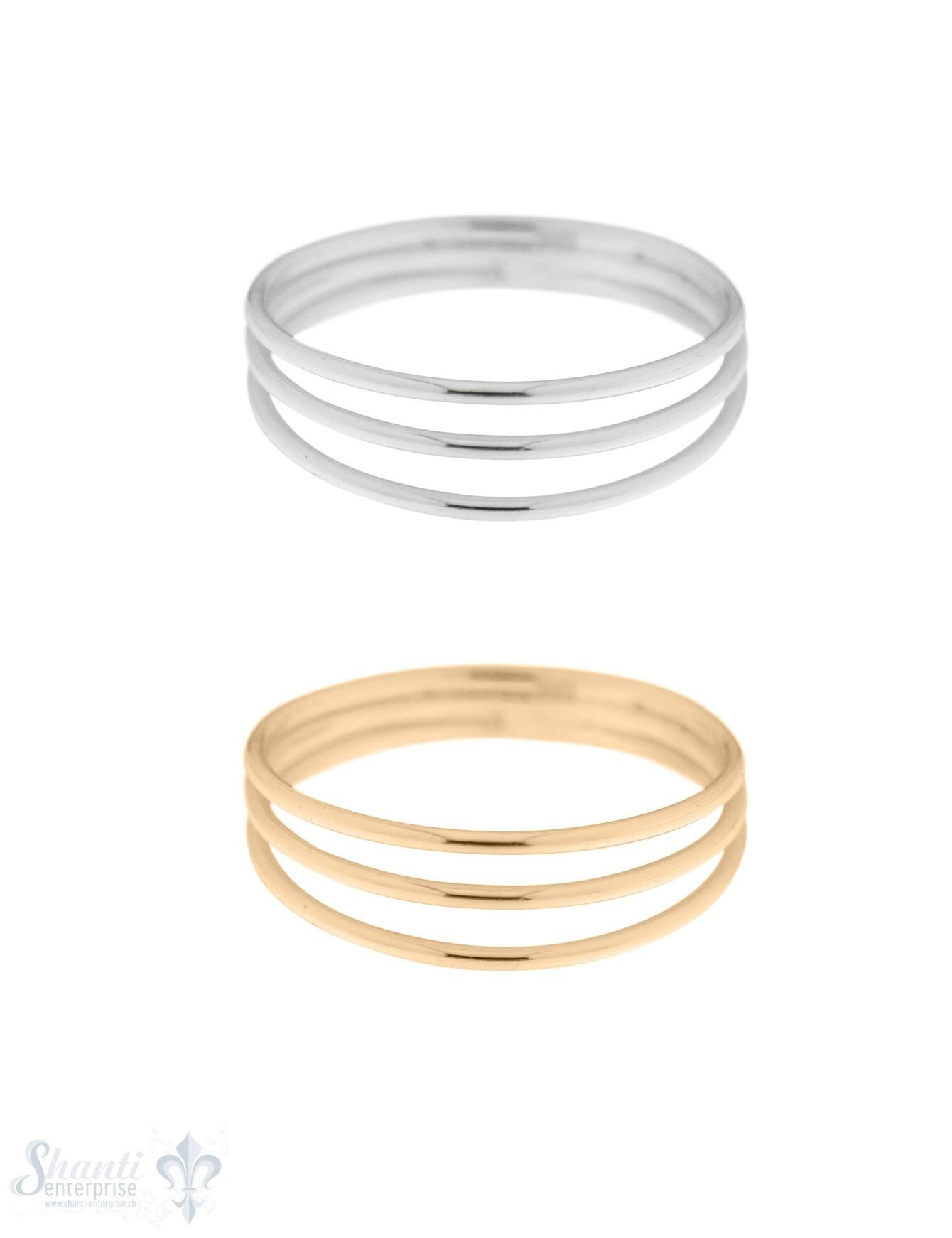 Silberring 3 Ringe gefiedert