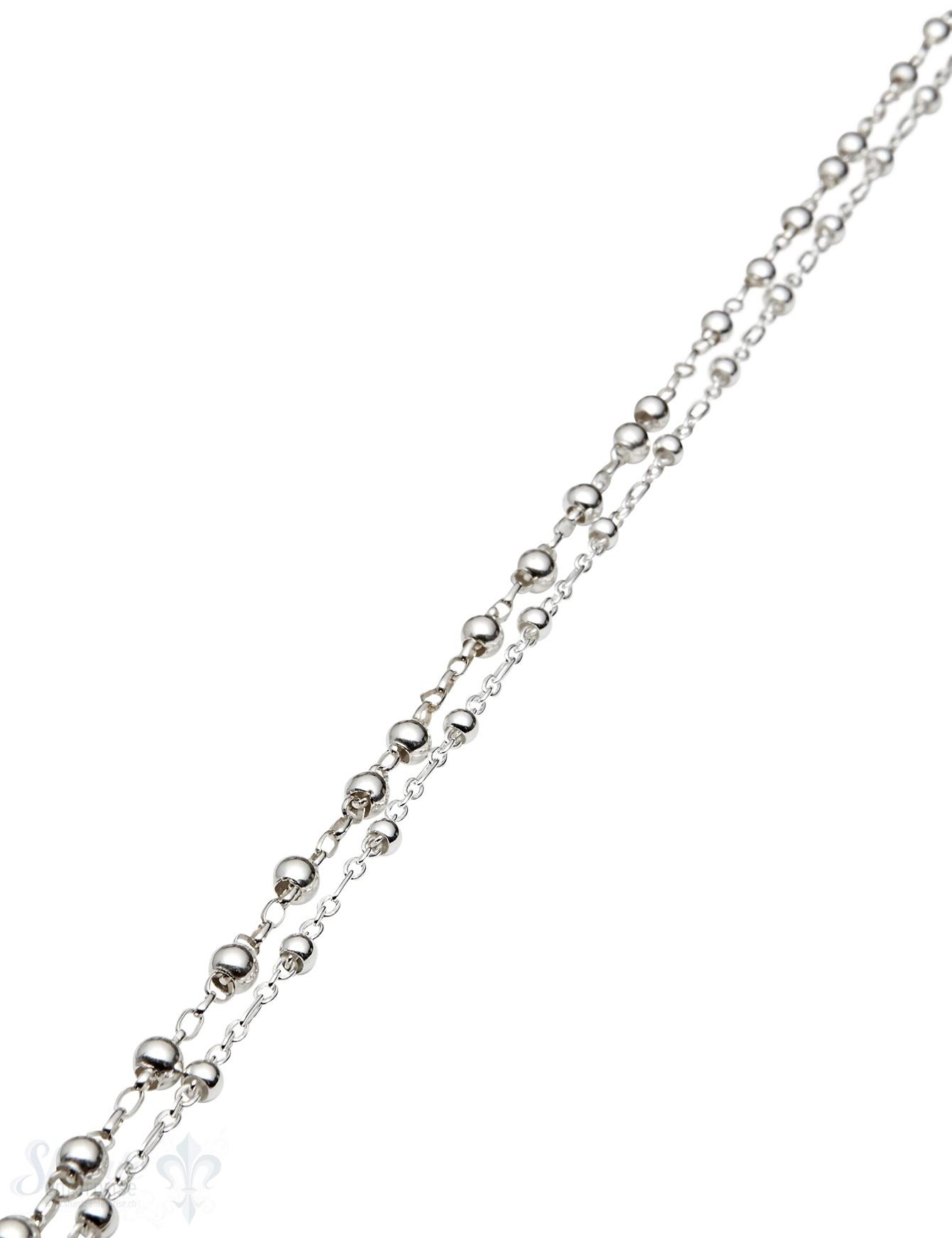 Silberkette: Kugel auf Kette unregelmässig Kugel können sich verschieben (Abschnittlänge wird angepasst) per cm