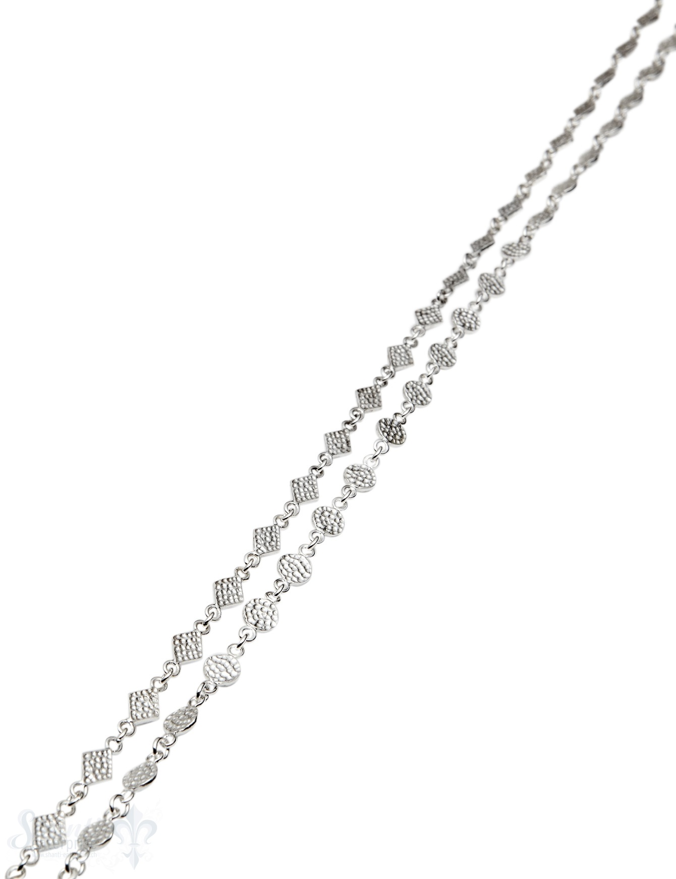 Silberkette Plättli rund fein gehämmert (Abschnittlänge wird angepasst) per cm