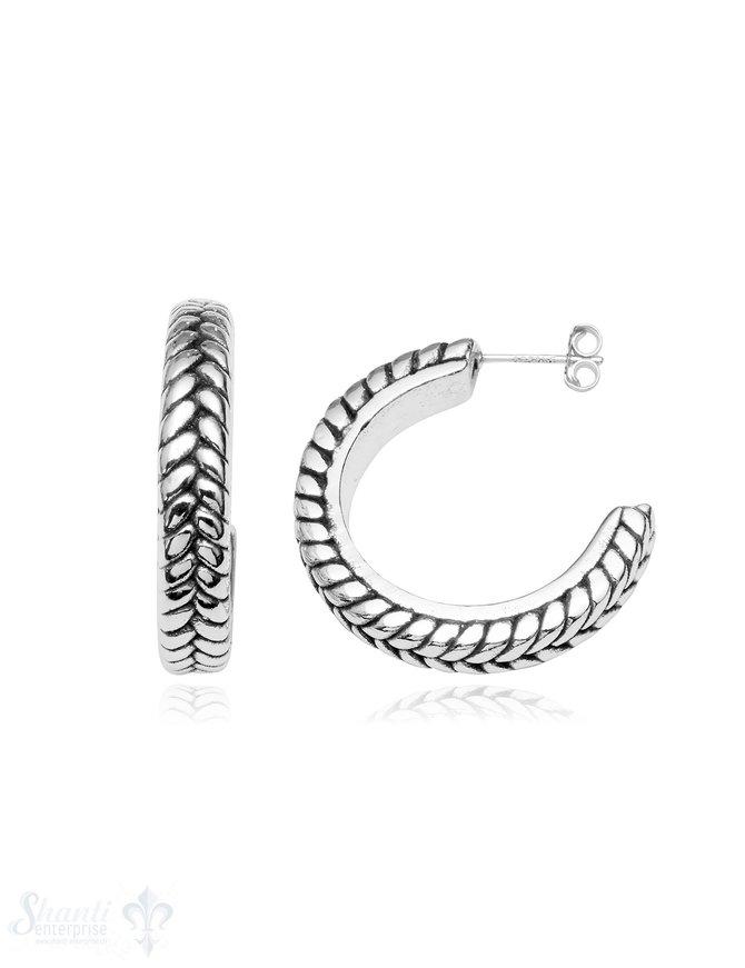 Ohrstecker Creolen Silber geschwärzt 28 mm  5 mm breit gezopft