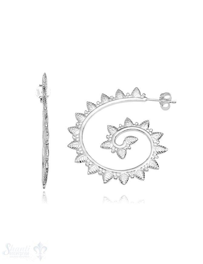 Ohrstecker Creolen Silber 38 x 34 mm Blätter-Kranz mit Struktur eq