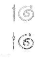 Ohrstecker Creolen Silber 24 x 22 mm Schnecken-Form getupft eq