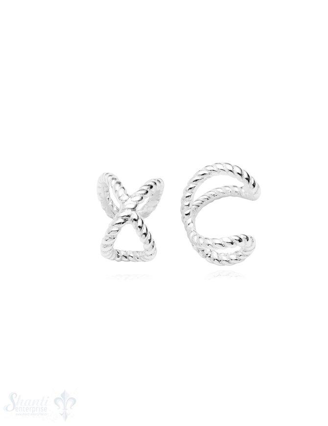 Ohrklemmen Silber hell Infinity Zeichen getupft 8 mm
