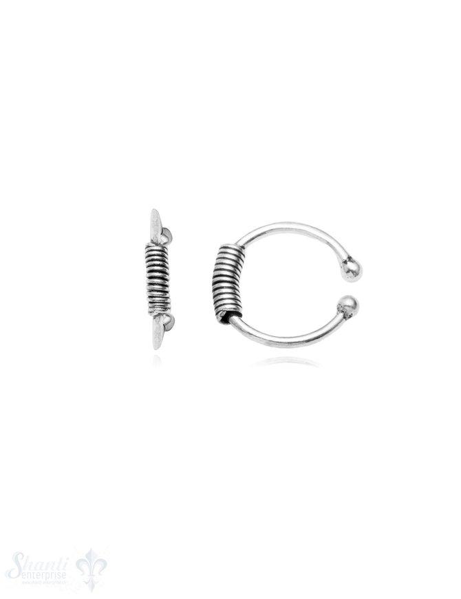 Ohrklemmen Silber geschwärzt umwickelt in Mitte 11 .3 mm Pack = 1 Paar