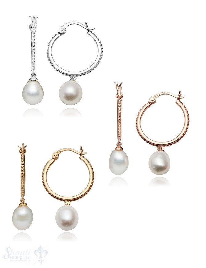 Creolen Silber 20 mm gepunktet mit Perlen- Tropfen weiss 10 x 8 mm mit Klick-Verschluss