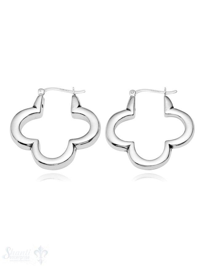Ohrhänger Silber Blumen-Rahmen vierblättrig 5 mm breit 30 mm mit Bügel zum Einklicken
