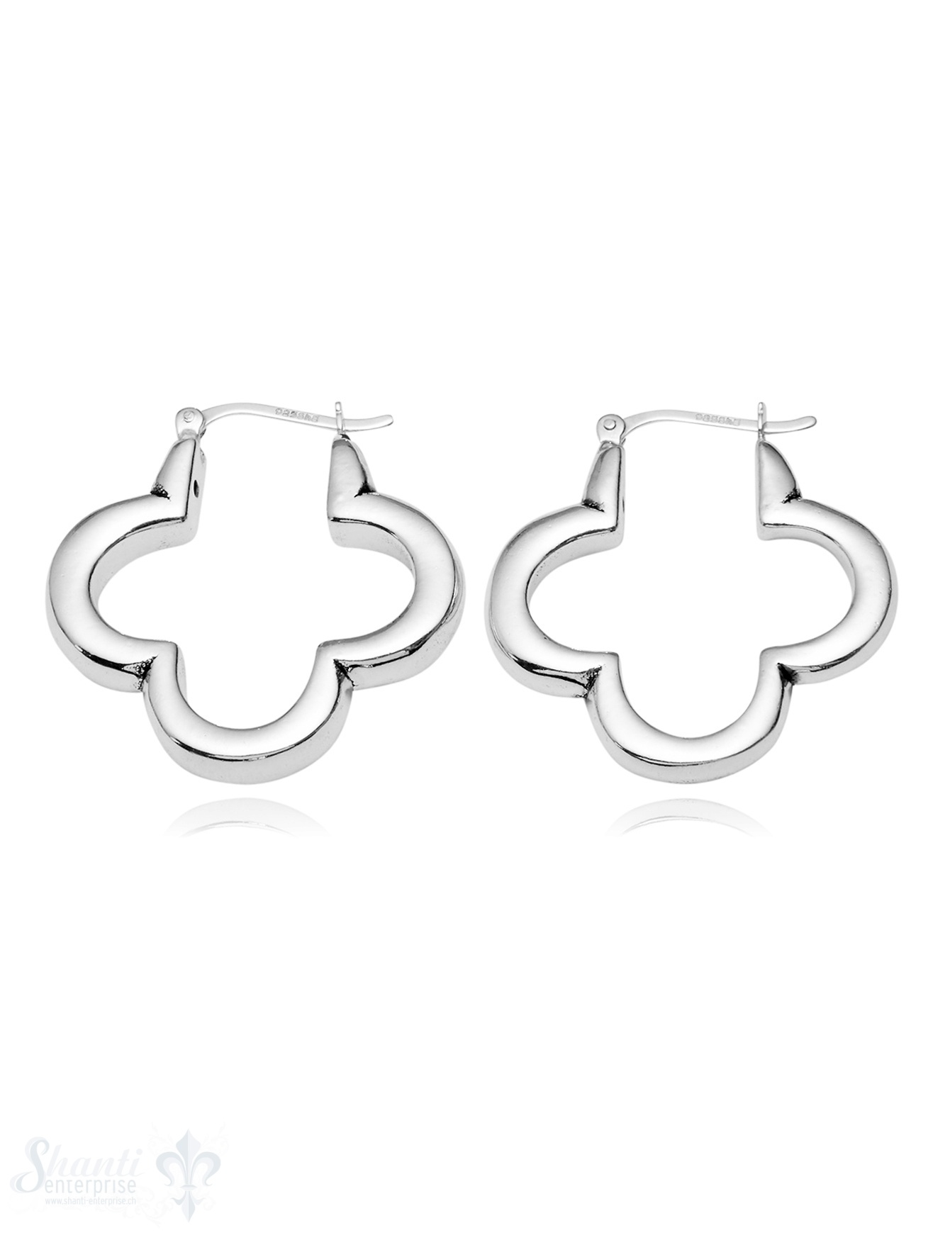 Ohrhänger Silber Blumen-Rahmen vierblättrig 5 mm