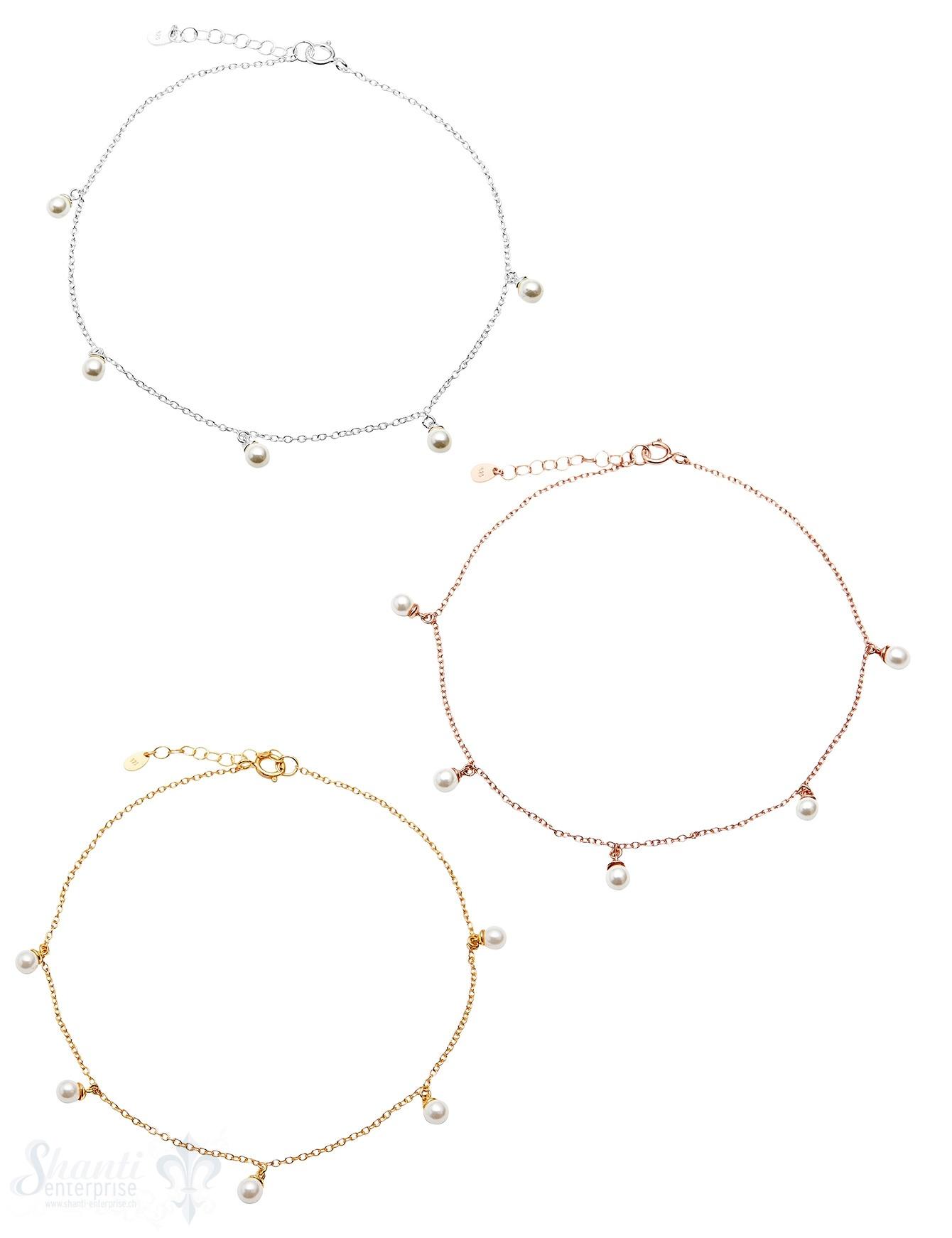Fussketteli Silber Anker  22-25 cm mit Perlen weiss Federringschloss eq Grössen verstellbar