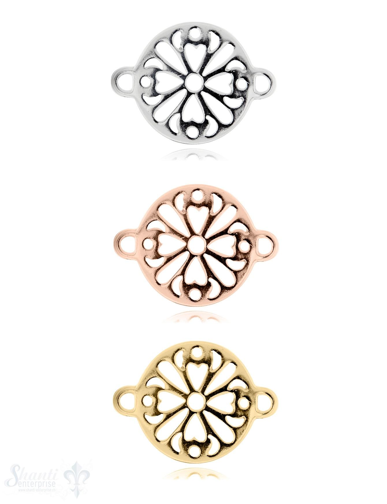 Silberteil mit Doppelösen: Blumenmuster durchbroche 26x20mm Dicke: 1.5 mm