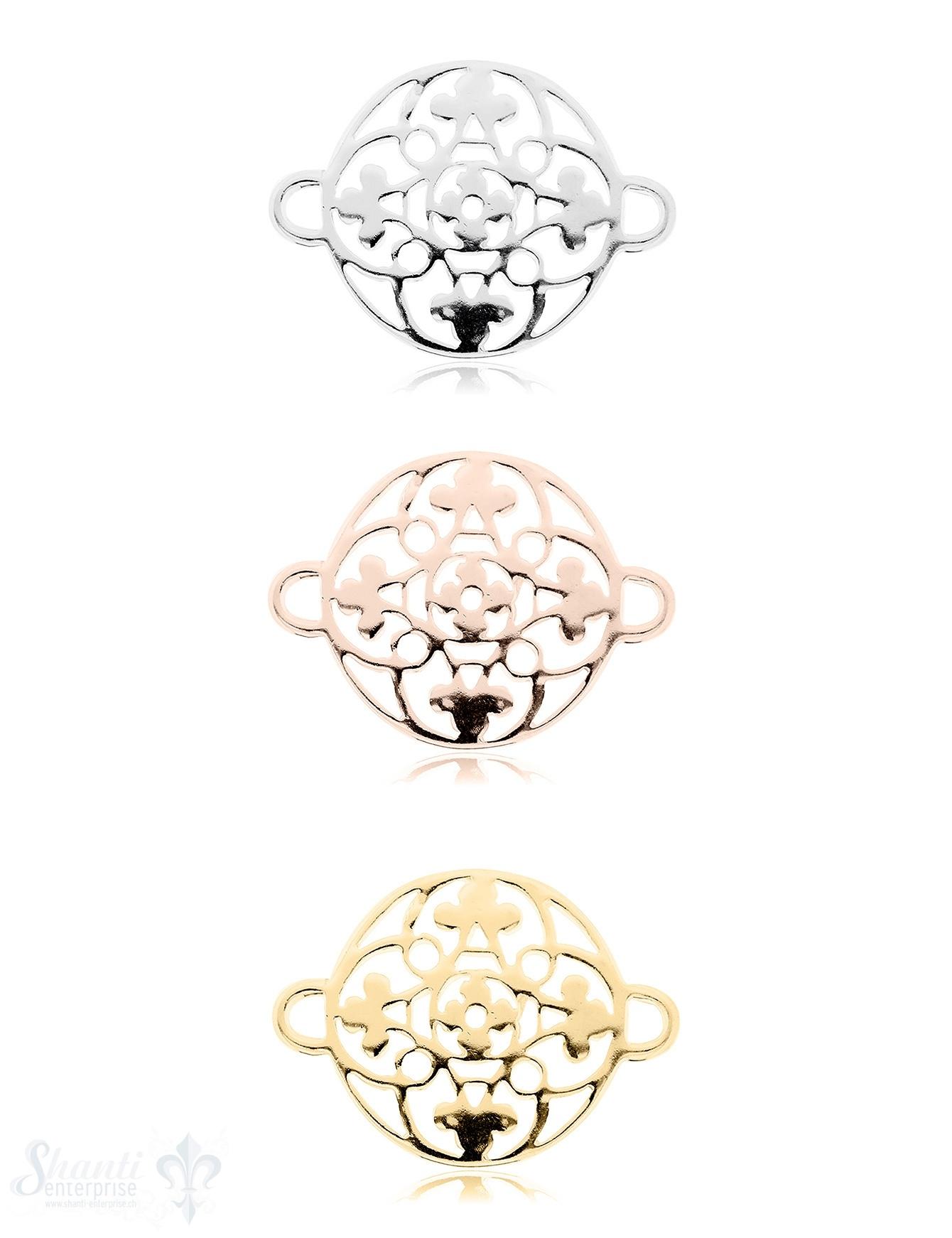 Silberteil mit Doppelösen: Amulett 27x20mm durchbrochen