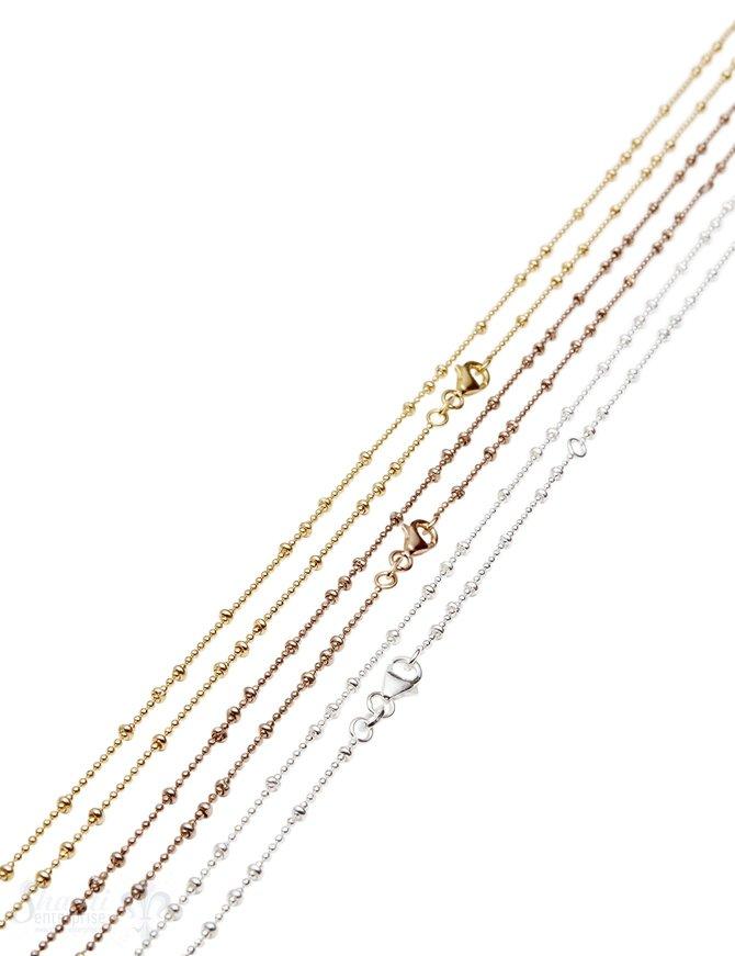 Silberkette fein Kügeli 1,2 mm:fac. unregelmässig grössere Kugeli, mit Karbiner