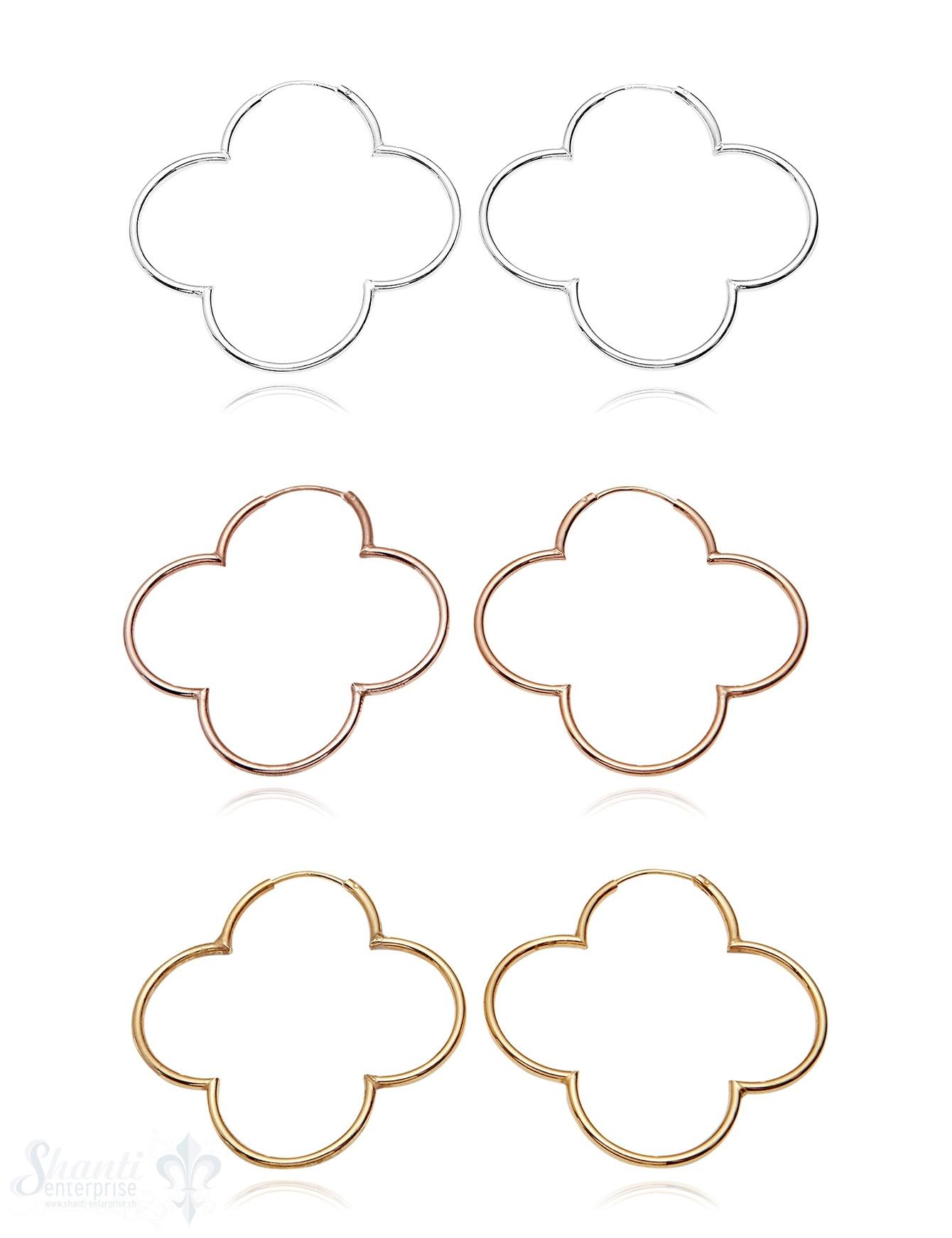 Creolen Silber poliert 50 mm Blume 4- blättrig mit Steck-Verschluss