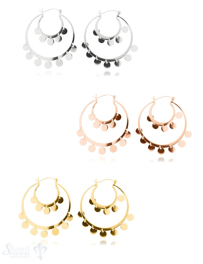 Ohrhänger Creolen doppelt Silber hell Plaquetten 32 mm mit Klick-Verschluss