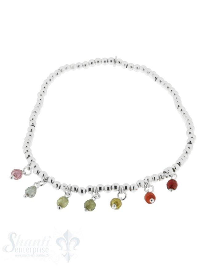Armkette auf Elastik Silber Kügeli 2,5 mm Zirkon- Anhänger mulitcolor 18 cm