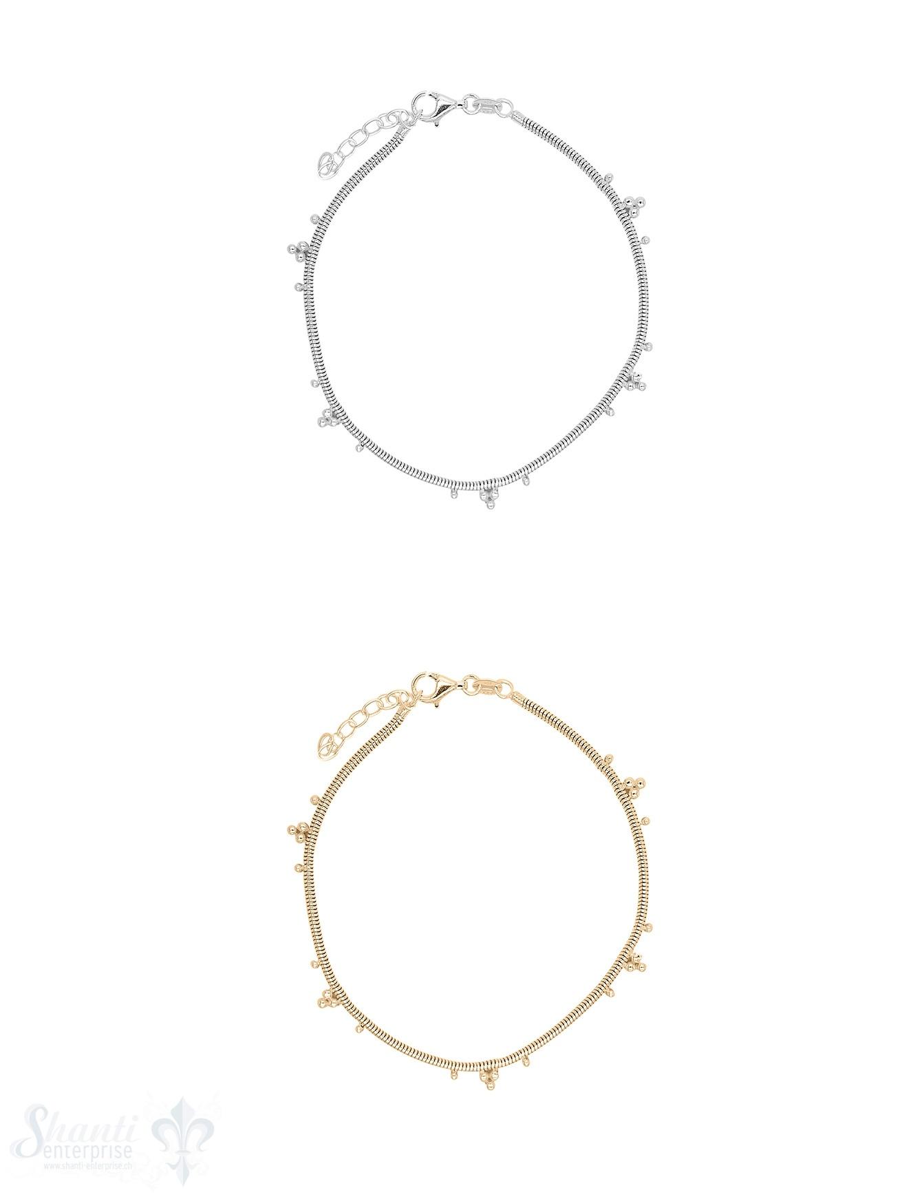 Fussketteli Silber Uhrmacher 23-26 cm mit Tupfen muster fein Karabiner ec Grössen verstellbar