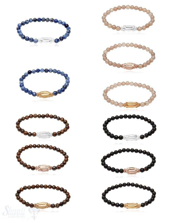 Elastikarmband Onyx facettiert matt 6 mm 18 cm Silber-Zwischenteil