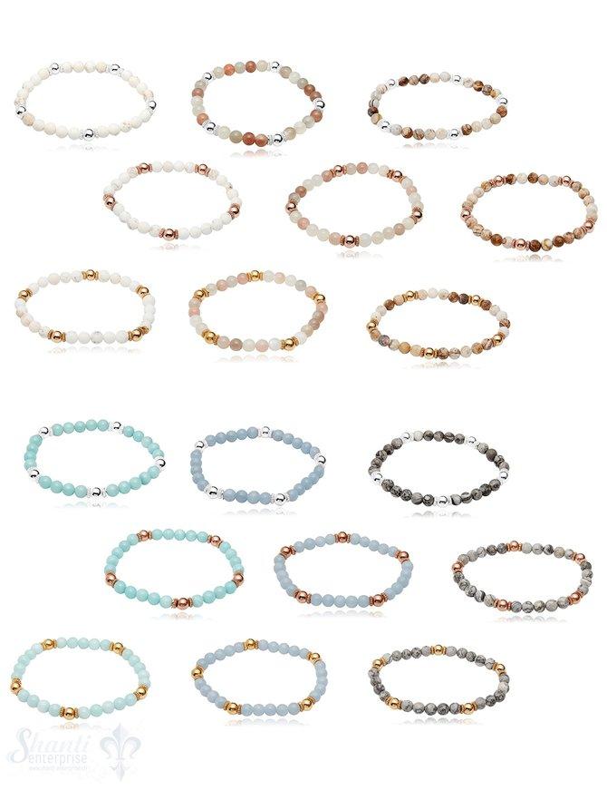 Elastikarmband Silber 6 mm poliert 18 cm