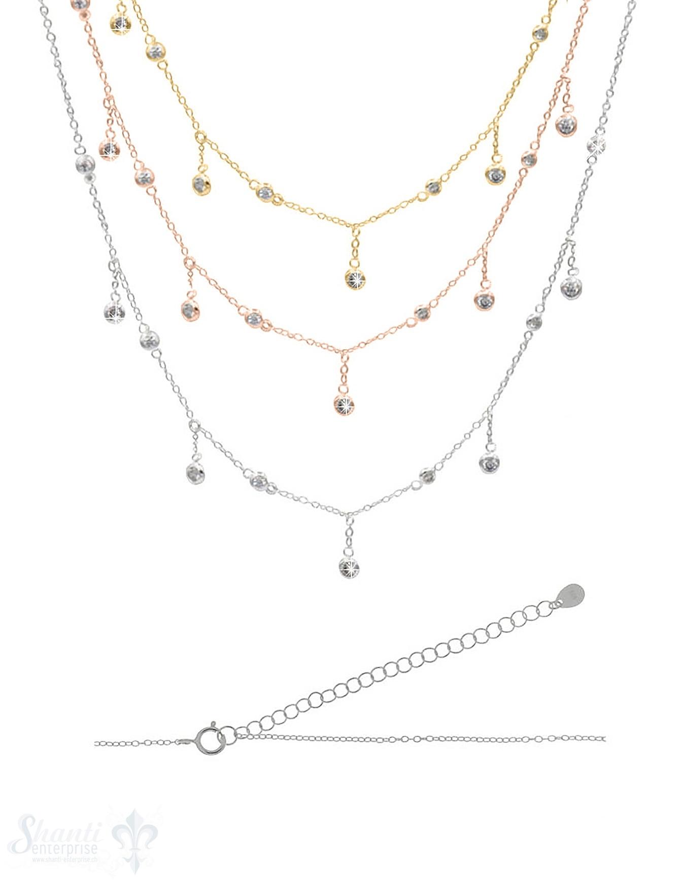 Halskette kurz Silber Anker mit Zirkonia kurz/lang