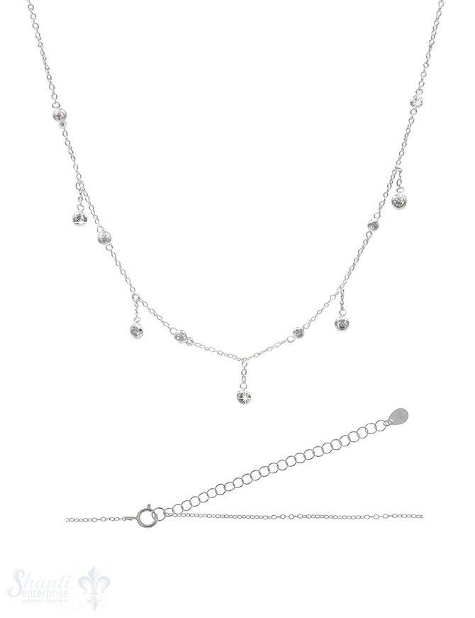 Halskette kurz Silber Anker mit Zirkonia kurz/lang 32-38 cm Grössen verstellbar Federringschloss