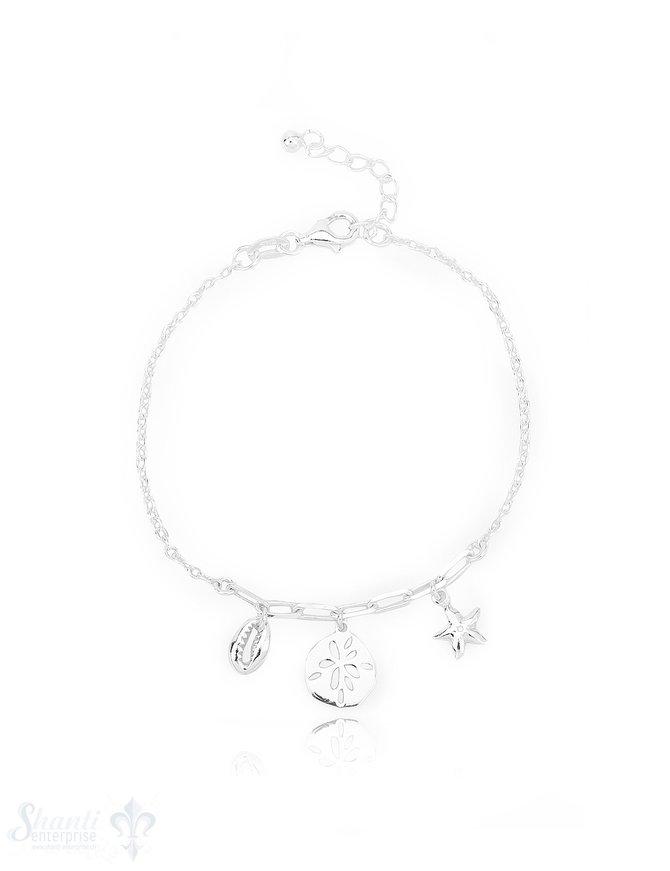 Fussketteli Silber Anker 23-25 cm mit Seestern,Kaurimuschel, Palmen Anhänger Grössen verstellbar