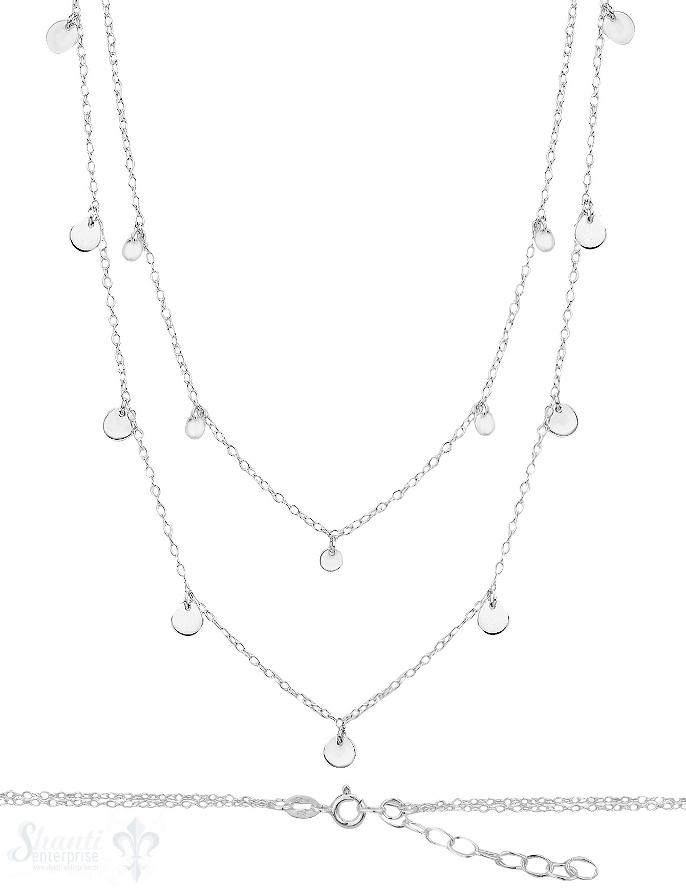 Silberkette Choker doppelreihig 34+42cm Plaquetten
