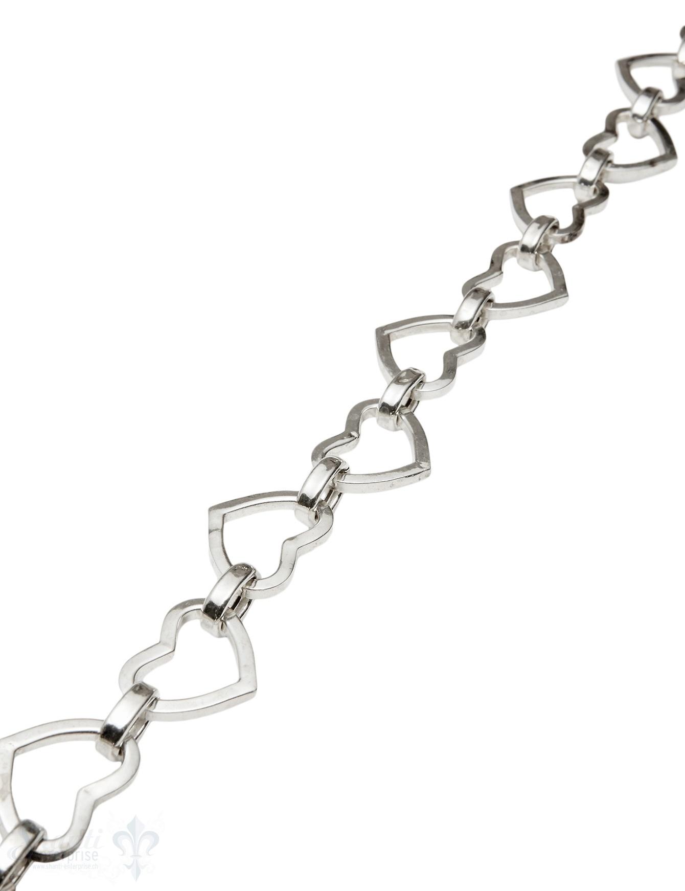 Silberkette Herz oval abwechselnd 28x17 mm Herz 22