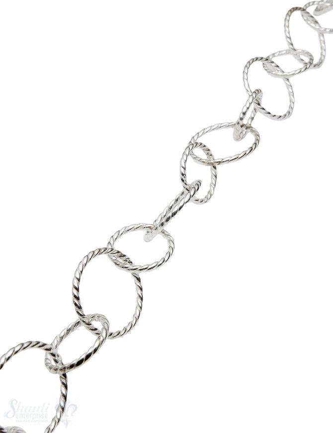 Silberkette Ringe verziert 40x25 mm gross 25 mm kl ein 20 mm 1 m ca. Fr. 97.00 Abschnittlänge wird angepasst Preis per cm