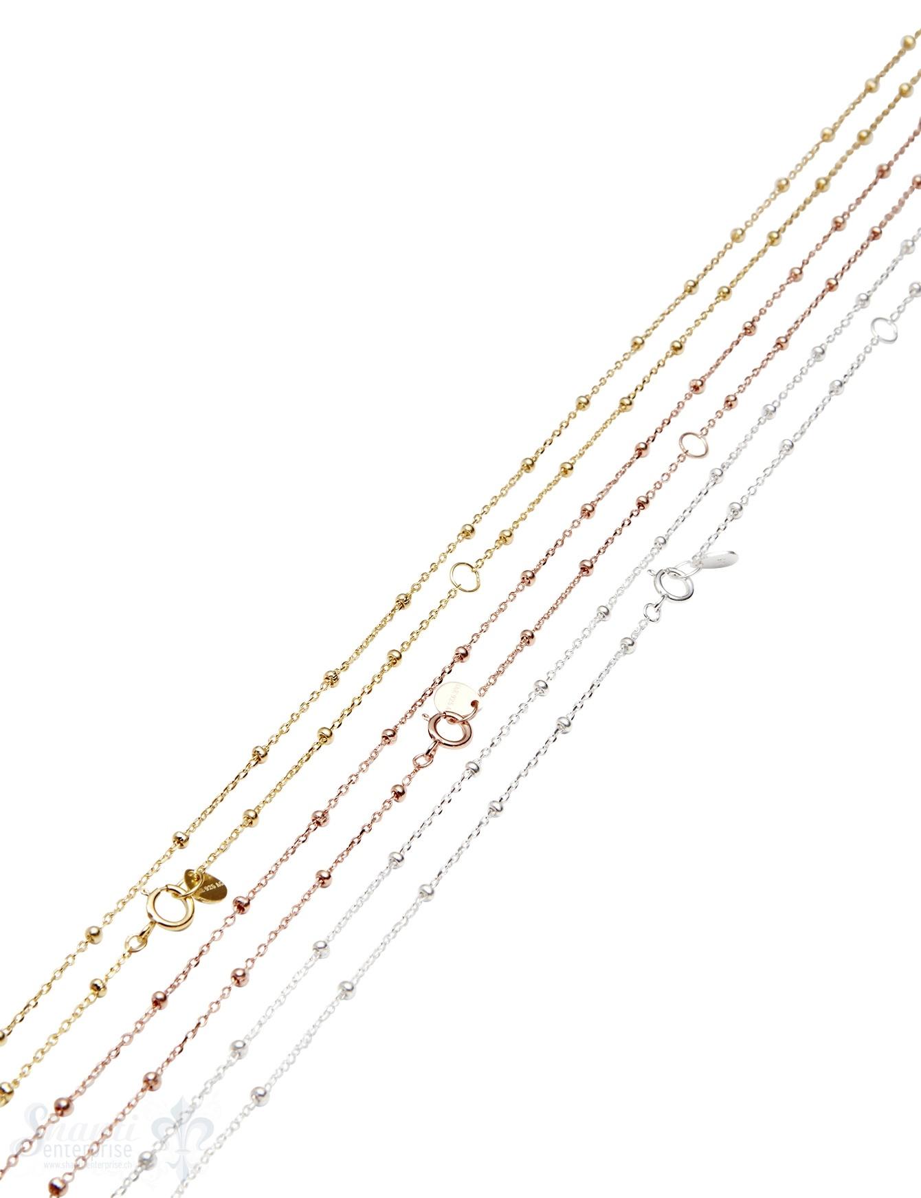 Silberkette Fantasie Anker mit Kugeln 0,7-1,8 mm Grössen verstellbar Federringschloss ec
