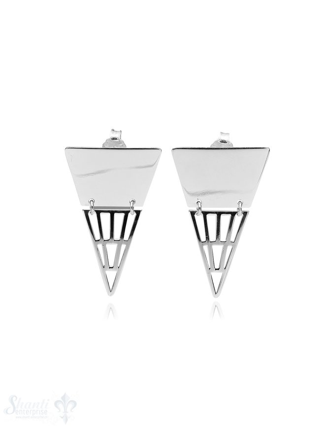 Ohrstecker Silber hell 30x20 mm Dreieck 2-teilig unten durchbrochen fein
