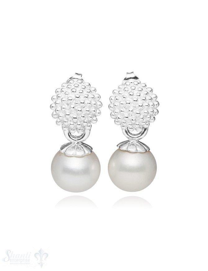 Ohrstecker Silber Fassung gegepunktet Perle weiss 12 mm