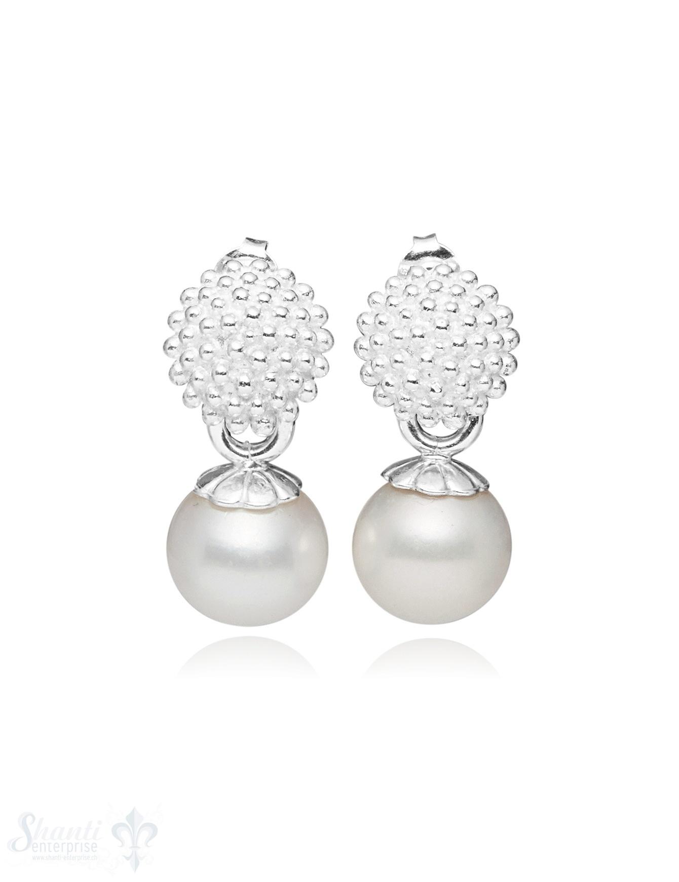 Ohrstecker Silber Fassung gegepunktet Perle weiss