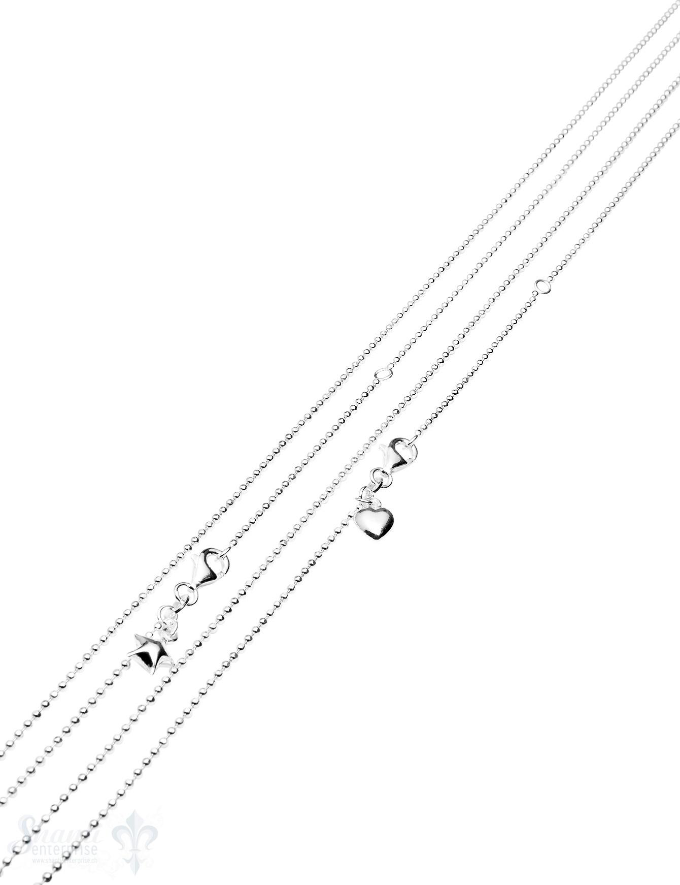 Silberkette Kugel facettiert  mit Herz oder Stern 1,5 mm Grössen verstellbar mit Karabiner