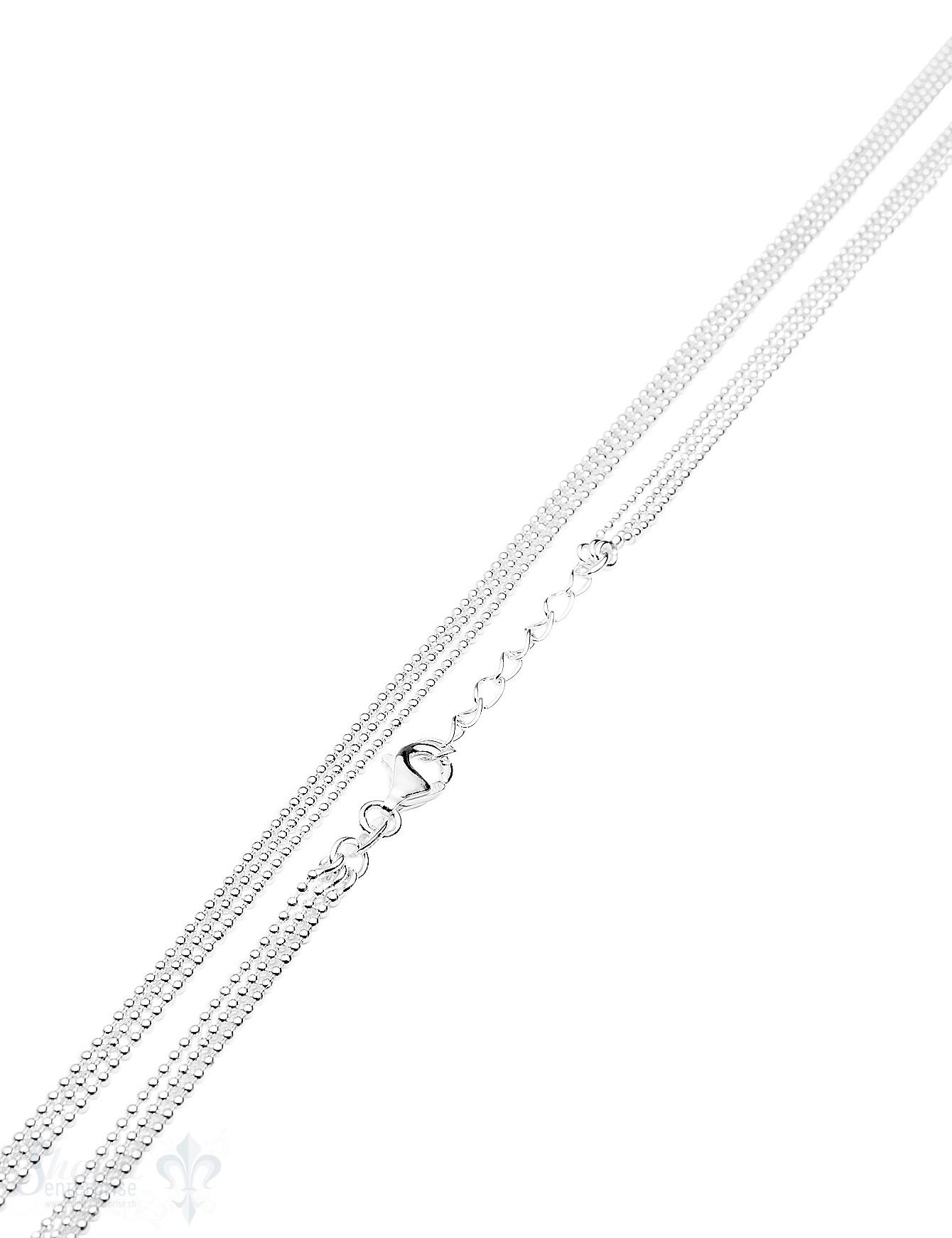 Silberkette Kugel 1,2 mm 3-reihig 65 cm mit